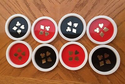 VTG Drink Coasters Plastic Lot of 8 White Red Black Cards Poker Made in the USA