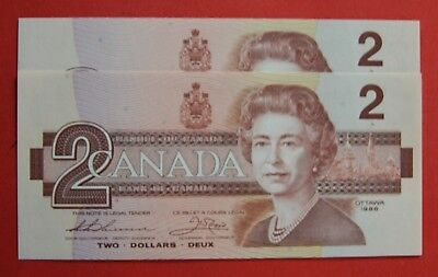 1986 $2 Bank of Canada Thiessen-Crow CBH Prefix - 11.95 Ch UNC 2 Consecutive!
