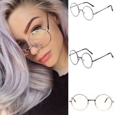 Women Men Large Metal Frame Clear Lens Round Circle Eye Glasses Nerd Vintage HG