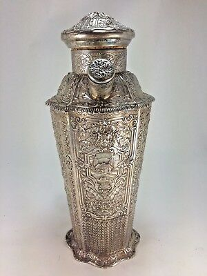 Antique E.g. Webster & Son Highly Ornate High Relief Cocktail Shaker Silver