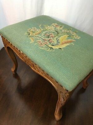 Vtg Needlepoint Victorian Foot Stool Rest Antique Tapestry Ottoman Floral Small