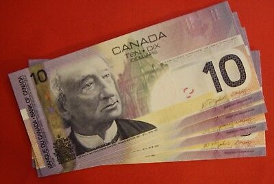 2005 $10 Bank of Canada Set of 4 Notes 8 + 0's - 79.95 Ch UNC - Interesting Set!