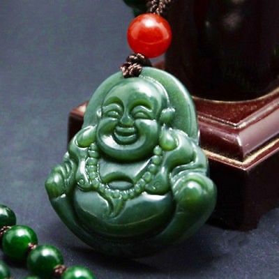 Chinese Natural jade hand-carved Buddha lucky Pendant necklace