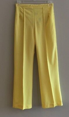 Vintage Slacks Pants 60's 70's Yellow Polyester M Dante Originals Hipsters