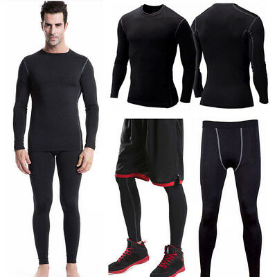 Fall Men Sports Gym Fitness Shaper Thermal Heat Underwear Set Compression Suit
