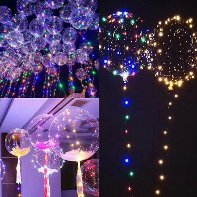"""Luxury RGB Color LED String Light With Clear Helium Balloons 18"""" Christmas Decor"""