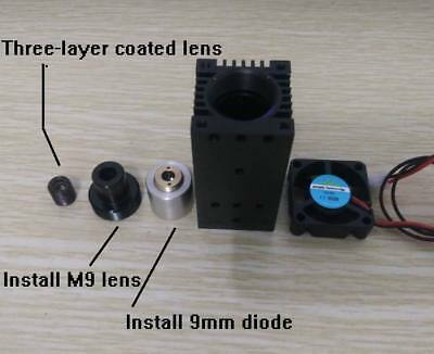 9mm laser diode mount for 445nm diode housing adjustable with coated glass lens