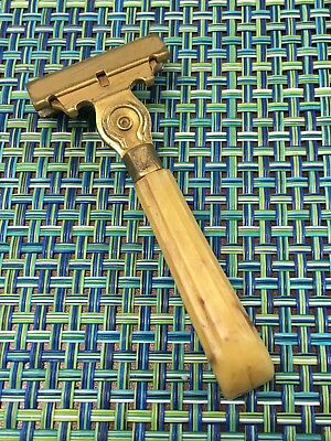 VTG BRASS/GOLD PLATED SCHICK EVERSHARP INJECTOR SAFETY RAZOR w/ CELLULOID HANDLE