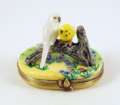 New French Limoges Trinket Box Parakeet Budgie Budgerigars In Iris Garden
