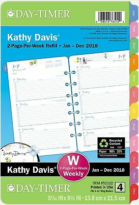 Day-Timer Two Page Per Week Planner Refill January 2018 - December 2018 5-1/2...