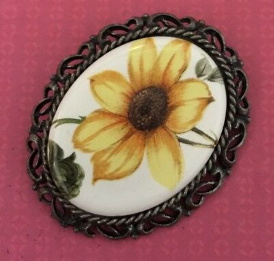UNIQUE Antique/ VINTAGE Hand Painted Flowers Yellow Oval  Brooch Pin