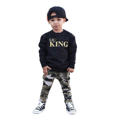 Toddler Kids Baby Boy Letter T shirt Tops+Camouflage Pants Outfits Clothes