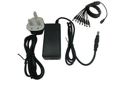 New 60W AC100-240V to DC12V 5A Power Supply Adapter Charger+8 Split Way UK Stock