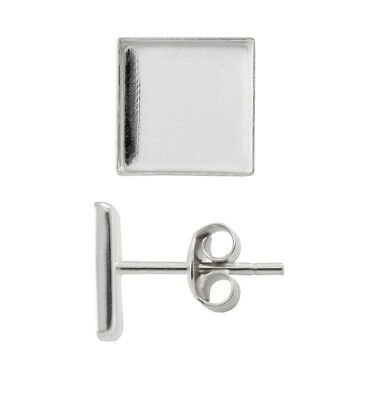 Sterling Silver Earrings Stud Posts for Gluing 2493 Square Crystals 8mm, 10mm