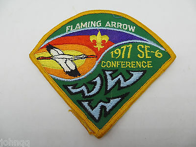 Boy Scout BSA OA 1977 SE-6 Conference Flaming Arrow Triangular Patch