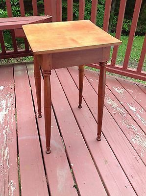 PRIMITIVE ANTIQUE 19th C CHERRY CANDLE STAND NIGHTSTAND TABLE FREE SHIPPING