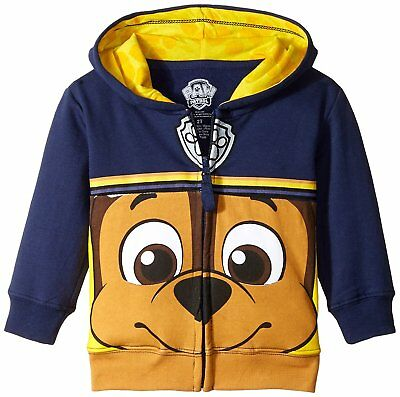 Nickelodeon Toddler Boys Paw Patrol Character Big Face Zip-Up Hoodies, Chase 2T