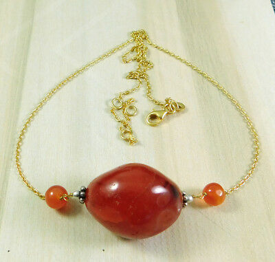 "925 Sterling Silver 16.49g Carnelian Gemstone Gold Plated 19"" Necklace M7N240"