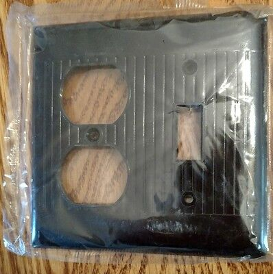 Vtg NOS Sierra BAKELITE Ribbed 1 Gang Combo Wall Light Switch Plate Cover Brown