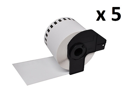 5 x Compatible Brother DK22205 Continuous White Paper Label Tape 62mm x 30.48m