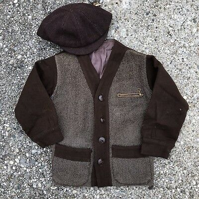 VTG 20s 30s Depression Era Childs Boys Coat Jacket Beanie Hat Newsie
