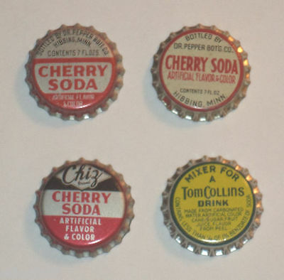 4 Soda Bottle caps – 3 Cherry & Tom Collins Mix Metal With Cork Inside Nice See!