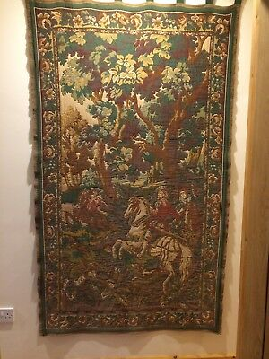 BEAUTIFUL VINTAGE FRENCH TAPESTRY PANEL / WALL HANGING ~ WOODLAND SCENE 1900s