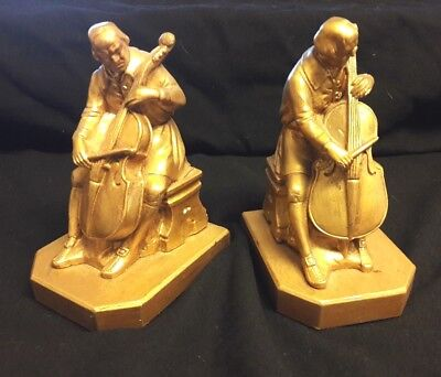 Lovely Pair Of Vintage 1932 J.b. Hirsch & J. Ruhl Bookends Of Cello Player