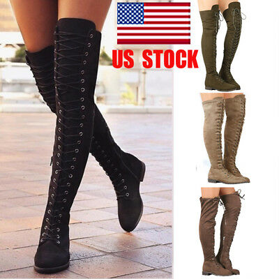 US Women Thigh High Over The Knee Low Heel Flats Lace Up Boots Zipper Shoes Size