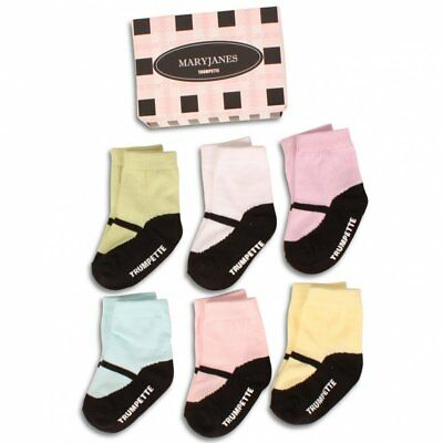 NEW Trumpette MARY JANES Baby Socks 6 pairs in GIFT BOX. 0 - 12 mo