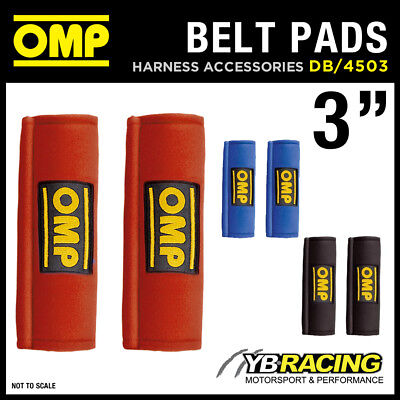 """DB/450/3"""" OMP RACING HARNESS SEAT BELT PADS PAIR 3"""" WIDTH in RED / BLACK / BLUE"""