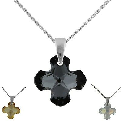 Cross Pendant Made With Swarovski Crystal & 925 Sterling Silver Chain Necklace
