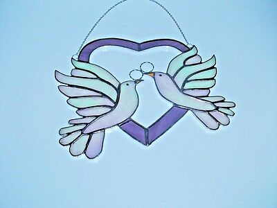 Stained Glass handmade purple heart with white iridescent doves sun-catcher
