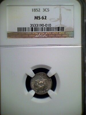 1852 3CS Three Cent Silver , NGC MS62