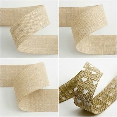 Linen Natural Shabby Chic Ribbon - 1m, 3m or 15/20 Metre Reel