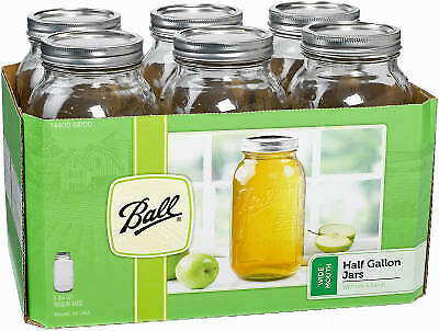 JARDEN HOME BRANDS - Wide-Mouth Canning Jars With 2-Pc.Closures, 1/2-Gal., 6-Pk.