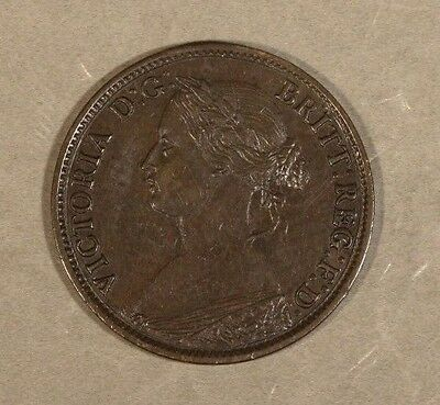 1860 Great Britain 1 Farthing Toothed Boarder            ** FREE U.S SHIPPING**