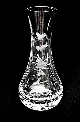 Vintage Small Crystal Glass Vase Frosted Embossed Floral Pattern Kitsch Retro