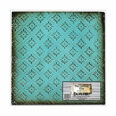 Salvaged by BCI Crafts Tin Ceiling Tile Bright Blue Rosette NO TAX