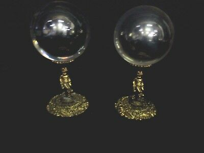 Lot of 2 Vintage Solid Brass Orb Ball Egg Sphere Holder Stand with silver balls