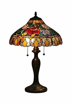 Amora Lighting AM060TL16 Tiffany Style Roses And Butterflies Table Lam... NO TAX