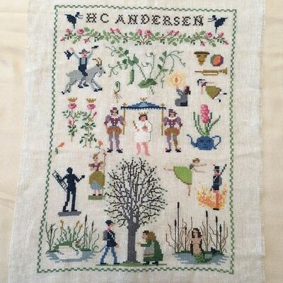 Large Vintage Embroidery Cross Stitch Handworked Sampler H C Anderson Fairytales
