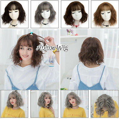 Daily 30CM Short Curly Lolita Bob Style Anime Women Cosplay Wig Heat Resistant