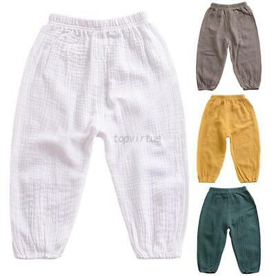 Lovely Kids Baby Boys Casual Elastic Waist Long Pants Loose Cotton Trousers 1-5T