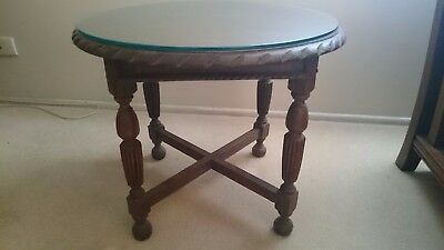 Oak Side Table / Lamp Table with glass top