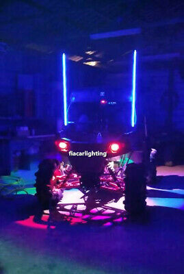 2Pieces 5FT Bluetooth AppControl Quick Release RGB ATV LED Whips Lights Shipped