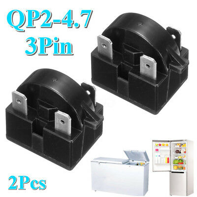Lot 2Pcs QP2-4.7 Start Relay PTC 3 Pin for DANBY MAGIC CHEF KENMORE REFRIGERATOR