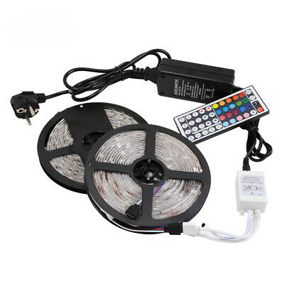 10M 5050 RGB LED Strip with 44keys IR Remote Controller +12V 8A Power Adapter