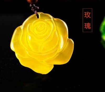 Chinese natural hand-carved yellow agate calcedony rose lucky pendant necklace