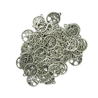 100Pcs Silver Round Tree of Life Jewelry Charms Pendant Findings Connectors